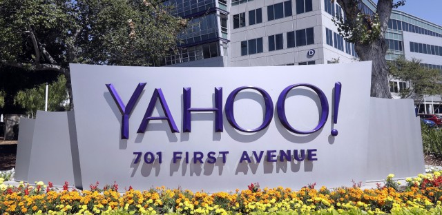 A Yahoo sign at the company's headquarters in Sunnyvale, Calif. The company has announced a hacking of user accounts that happened in 2013, but it says payment card information was not accessed.
