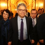 Sen. Al Franken, D-Minn., and his wife Franni Bryson (L) arrive at the U.S. Capitol Building on December 7, 2017, in Washington, D.C. Franken announced that he will be resigning in the coming weeks after being accused by several women of sexual harassment. Chip Somodevilla/Getty Images