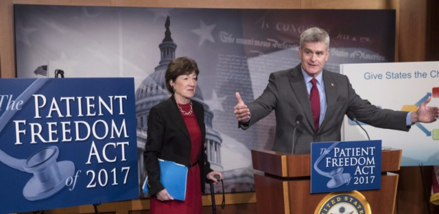 Sen. Bill Cassidy, R-La., accompanied by Sen. Susan Collins, R-Maine, announces the Patient Freedom Act of 2017, one of several GOP plans to replace the Affordable Care Act.