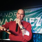 Andre Vasquez warms the crowd at an election party on April 2, 2019.