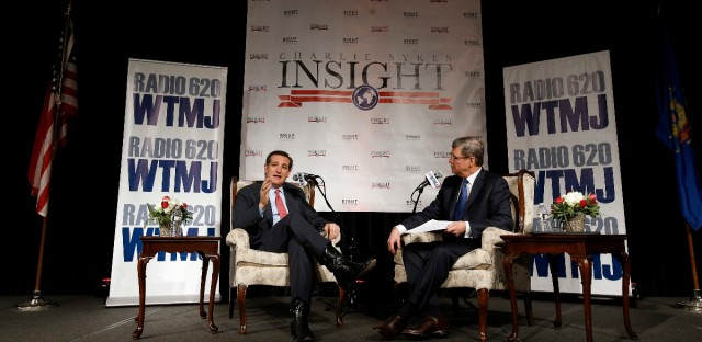 Republican presidential candidate, Sen. Ted Cruz, R-Texas, talks with radio host Charlie Sykes at a campaign stop Wednesday, March 23, 2016, in Pewaukee, Wis. (AP Photo/Morry Gash)