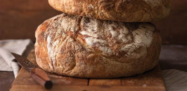Fresh-baked bread from a Dutch oven.