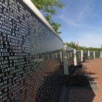 "The Middle East Conflicts Wall Memorial in Marseilles, Illinois, consists of polished granite panels listing the names of those killed during various phases of U.S. ""forever wars."" The panels now contain more than 8,000 names."