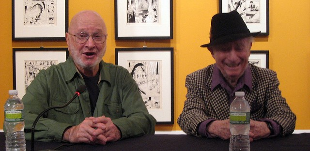 Jules Feiffer, left, with cartoonist Irwin Hasen in 2011.
