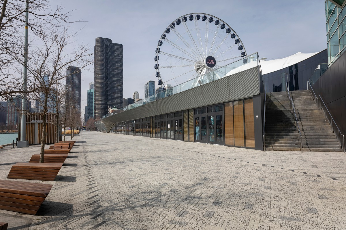Empty Navy Pier with the Ferris Wheel in the background.