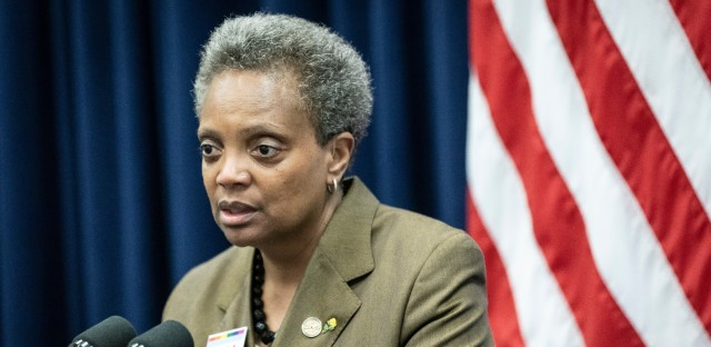 Mayor Lori Lightfoot attends a City Council meeting