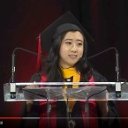 """In a video shared on YouTube, graduate Shuping Yang praised the """"fresh air of free speech"""" in the U.S. during her commencement address at the University of Maryland on Sunday."""