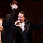 "Lin-Manuel Miranda appears at the curtain call following the opening night performance of ""Hamilton"" at the Richard Rodgers Theatre in New York last year."