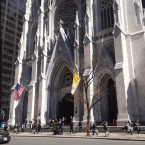 "Pedestrians walk past St. Patrick's Cathedral in New York City. The number of Americans who list their church affiliation as ""none"" has certainly increased, but more than 70 percent still identify generally as Christian."