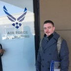 Nick Blade stands outside the Air Force recruitment office in Addison Mall on Chicago's North Side on Jan. 4, 2018.