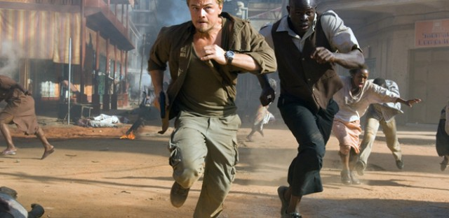 Actors Djimon Hounsou and Leonardo DiCaprio match wits in the film 'Blood Diamond.' Professor MaryEllen Higgins believes the film exemplifies the 'Western savior' theme, common to modern Hollywood films about Africa.