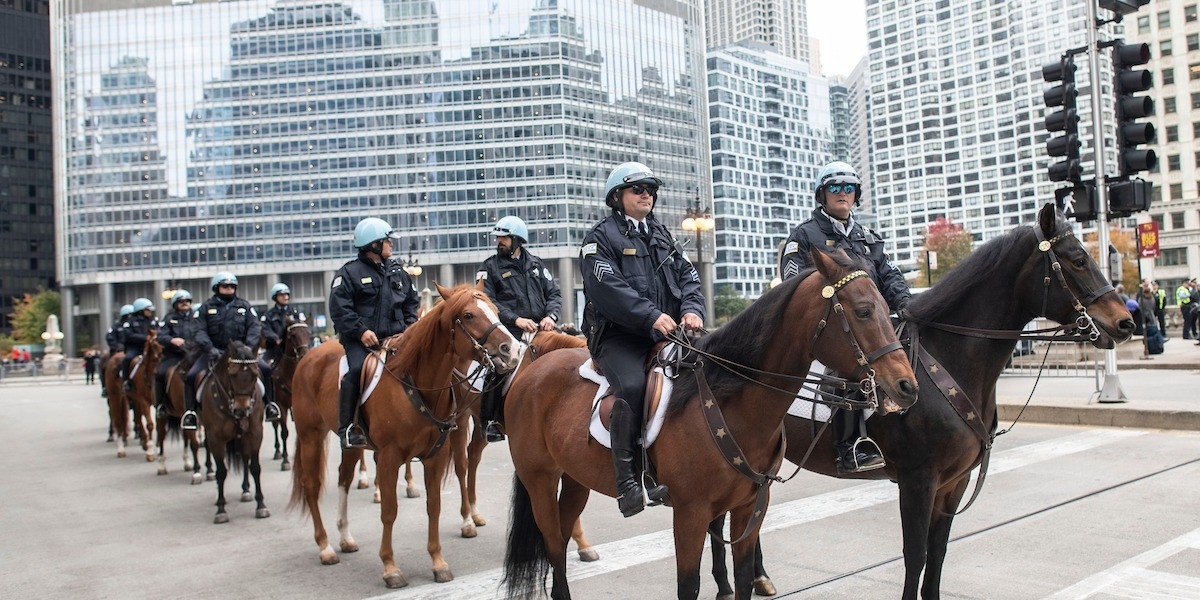 Cops on horses Trump Tower