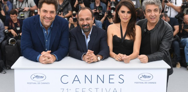 Actor Javier Bardem, from left, director Asghar Farhadi, actress Penelope Cruz and actor Ricardo Darin pose for photographers during a photo call for the film 'Everybody Knows' at the 71st international film festival, Cannes, southern France, Wednesday, May 9, 2018.