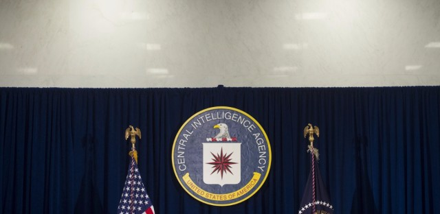 """The Central Intelligence Agency logo is seen at CIA Headquarters in Langley, Va., in 2016. In a statement accompanying the document release, WikiLeaks alleges that the CIA has recently """"lost control of the majority of its hacking arsenal."""""""