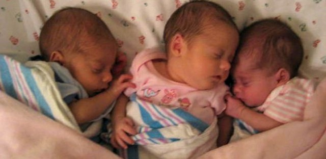 The Waters triplets at about five weeks old, not long after they came home from the hospital.