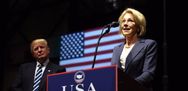 Betsy DeVos, picked by US President-elect Donald Trump for education secretary, speaks during the USA Thank You Tour on Dec. 9 in Grand Rapids, Mich.