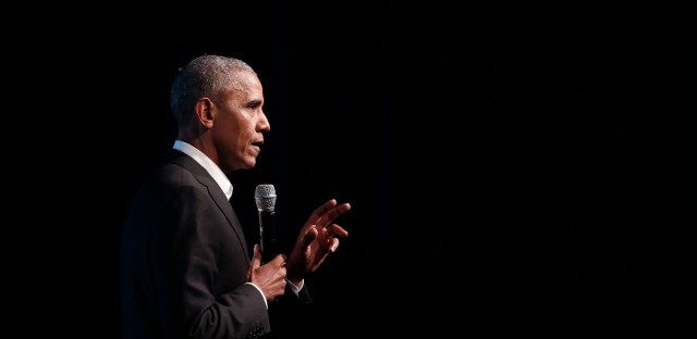 Former President Barack Obama address the crowd during the first session of the Obama Foundation Summit Tuesday, Oct. 31, 2017, in Chicago.