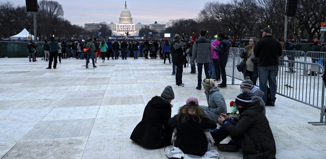 People gather on the National Mall prior to Donald Trump's Presidential Inauguration on Friday in Washington, D.C.