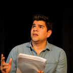 Playwright and performer Brian Quijada performs onstage
