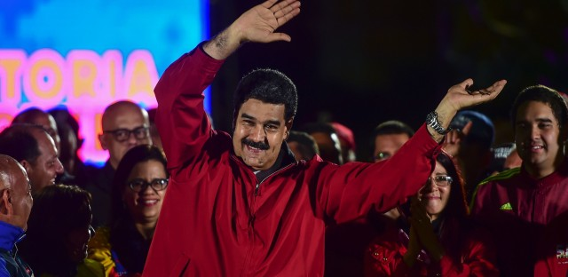 """Venezuelan President Nicolas Maduro celebrates the results of Sunday's referendum to elect members of his constituent assembly. For this """"fundamental assault on the freedoms of the Venezuelan people,"""" the U.S. Treasury announced sanctions on Maduro on Monday."""