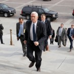 Vice President Mike Pence arrives at the Senate on Capitol Hill in Washington, Tuesday, Feb. 7, 2017, to be ready to cast the tie-breaking vote for Education Secretary-designate Betsy DeVos, . (AP Photo/J. Scott Applewhite)