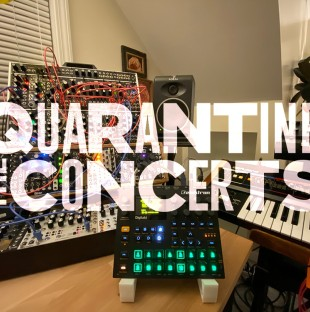 A photo of a sound system with text that reads The Quarantine Concerts