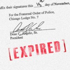 An image of Rahm Emanuel, Garry McCarthy and Dean Angelo's signatures on the city of Chicago's contract with the Fraternal Order of Police