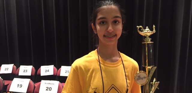 South Loop sixth grader Riya Joshi won the citywide spelling bee on Friday. She will represent Chicago Public Schools at the Scripps National Spelling Bee in late May.