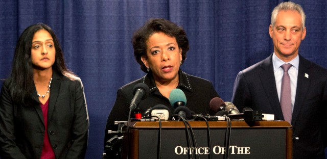 Attorney General Loretta Lynch speaks during a news conference accompanied by Principal Deputy Assistant Attorney General Vanita Gupta, left, and Chicago Mayor Rahm Emanuel Friday, Jan. 13, 2017, in Chicago. The U.S. Justice Department issued a scathing report Friday on civil rights abuses by Chicago's police department over the years.