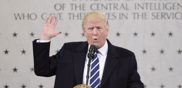 President Trump spoke at CIA headquarters in Langley, Va., on Jan. 21. He blamed the media for reports that he is feuding with the intelligence services, after comparing them to Nazi Germany.