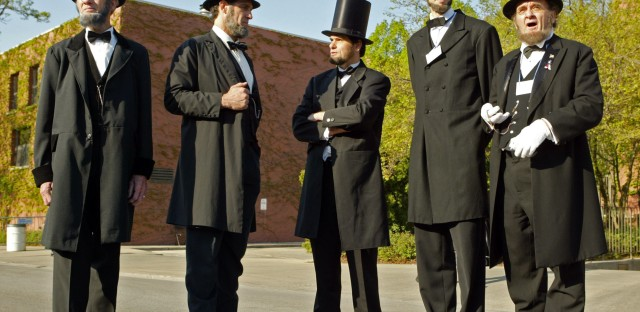 During the museum's dedication in 2005, a number of Lincoln impersonators were present, all wearing their own versions of the iconic stovepipe hat. (Nam Y. Huh/AP Photo/)