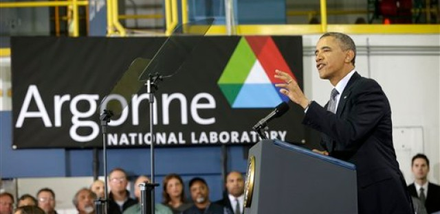 President Barack Obama gestures while speaking at Argonne National Laboratory in Argonne, Ill., Friday, March 15, 2013. Obama traveled to the Chicago area to deliver a speech to promote his energy policies.