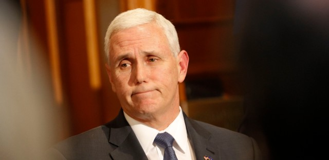 Indiana Gov. Mike Pence speaks in Indianapolis in March on the decision of Carrier to move jobs out of Indiana to Mexico.
