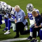"On Sept. 25, the Dallas Cowboys, led by owner Jerry Jones (center), took a knee prior to the national anthem before an NFL football game against the Arizona Cardinals, in Glendale, Ariz. Now he says players who ""disrespect the flag"" won't play."