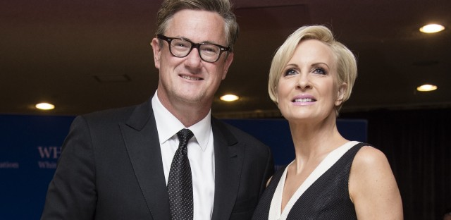 MSNBC Morning Joe hosts Joe Scarborough and Mika Brzezinski arrive at the 2015 White House Correspondents' Association annual dinner.