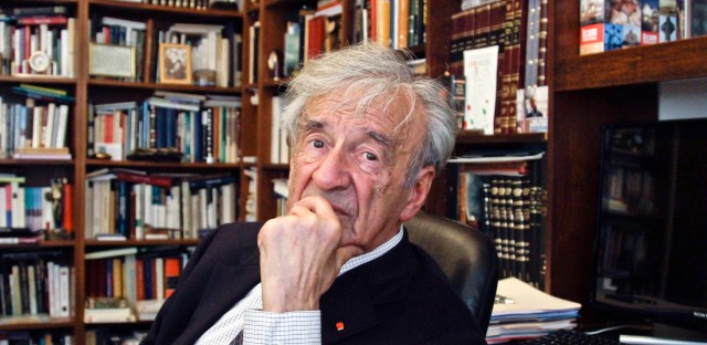In this Sept. 12, 2012, photo Elie Wiesel is photographed in his office in New York. Wiesel, the Nobel laureate and Holocaust survivor has died. His death was announced Saturday, July 2, 2016 by Israel's Yad Vashem Holocaust Memorial.
