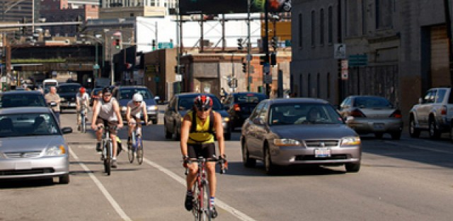 Bike commuters heading north on Milwaukee Ave. in Chicago.