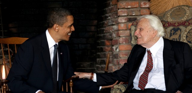 In this image released by the White House, President Barack Obama meets with Billy Graham, 91, at his mountainside home in Montreat, N.C., Sunday, April 25, 2010.