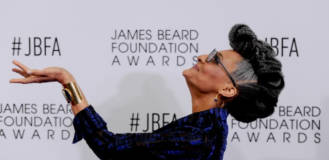 James Beard Foundation host Carla Hall poses on the red carpet before the 2016 James Beard Awards on Monday, May 2, 2016, in Chicago, Ill.