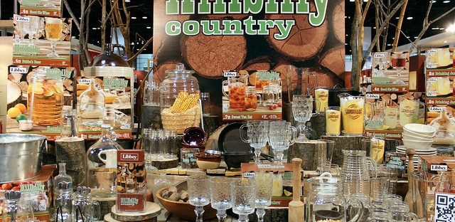 Hillbilly country trend at Libbey glass booth, International Home   Housewares Show 2013 in Chicago