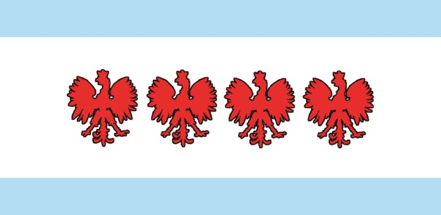 A mash-up of the Chicago and Polish flags.