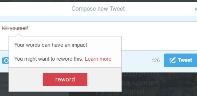 The Google Chrome extension is similar to a spell check function, except instead of flagging misspelled words, it identifies insults and hateful messages and then prompts the user to write something else.