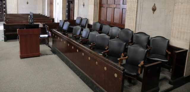 Jury box at the Criminal Court building at 2650 S California Avenue in Chicago.
