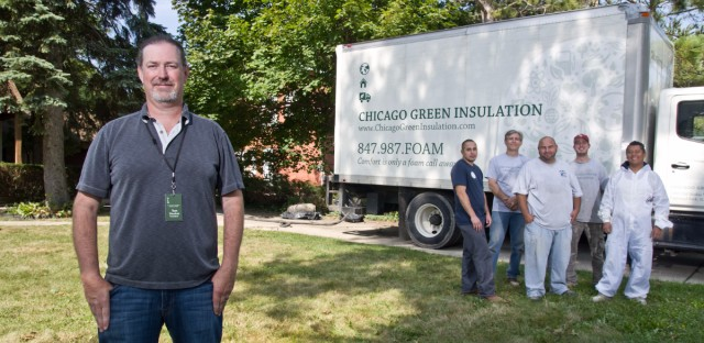 Tom Decker, left, is the owner of Chicago Green Insulation -- an Illinois insulation company that hires ex-offenders.
