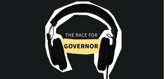 """An image of headphones cut out with the words """"The Race For Governor"""" in between them"""