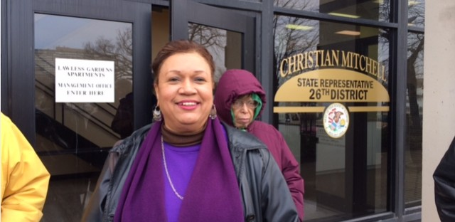 Jennifer Edwards, a retiree from the University of Illinois-Chicago, rallied outside some Illinois House members' offices Monday to encourage them to vote against a pension overhaul plan set for debate on Tuesday.