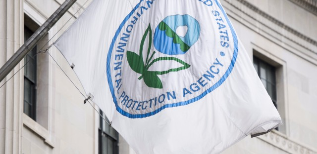The Environmental Protection Agency's flag hangs over EPA headquarters in Washington.