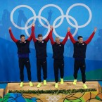 The United States 4 x 200m freestyle relay team, Conor Dwyer, left to right, Townley Haas, Ryan Lochte and Michael Phelps celebrate after winning the gold medal at the swimming competitions at the 2016 Summer Olympics, Wednesday, Aug. 10, 2016, in Rio de Janeiro, Brazil.