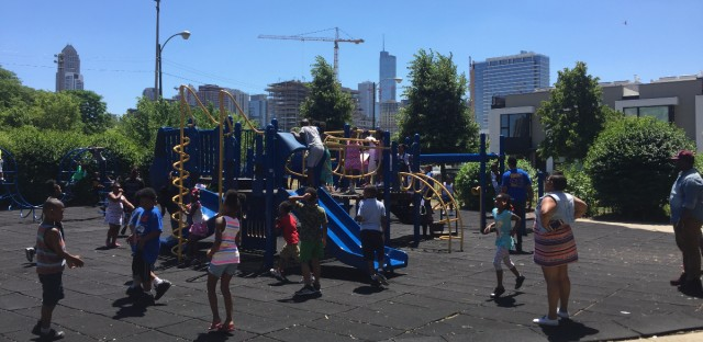 Students play on the playground at Jenner Academy of the Arts, a public school that has historically served Cabrini-Green public housing.