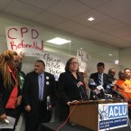 American Civil Liberties Union of Illinois attorney Karen Sheley stands at the podium to announce a new lawsuit against the city of Chicago on behalf of community groups and disability advocates.